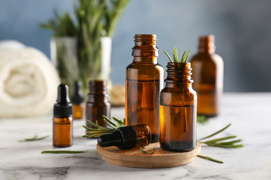 bottles of rosemary oil
